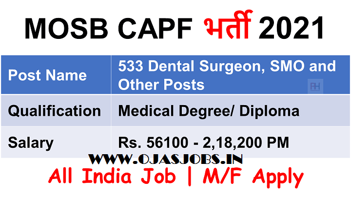 Medical Officer Selection Board (MOSB) CAPF Recruitment 2021